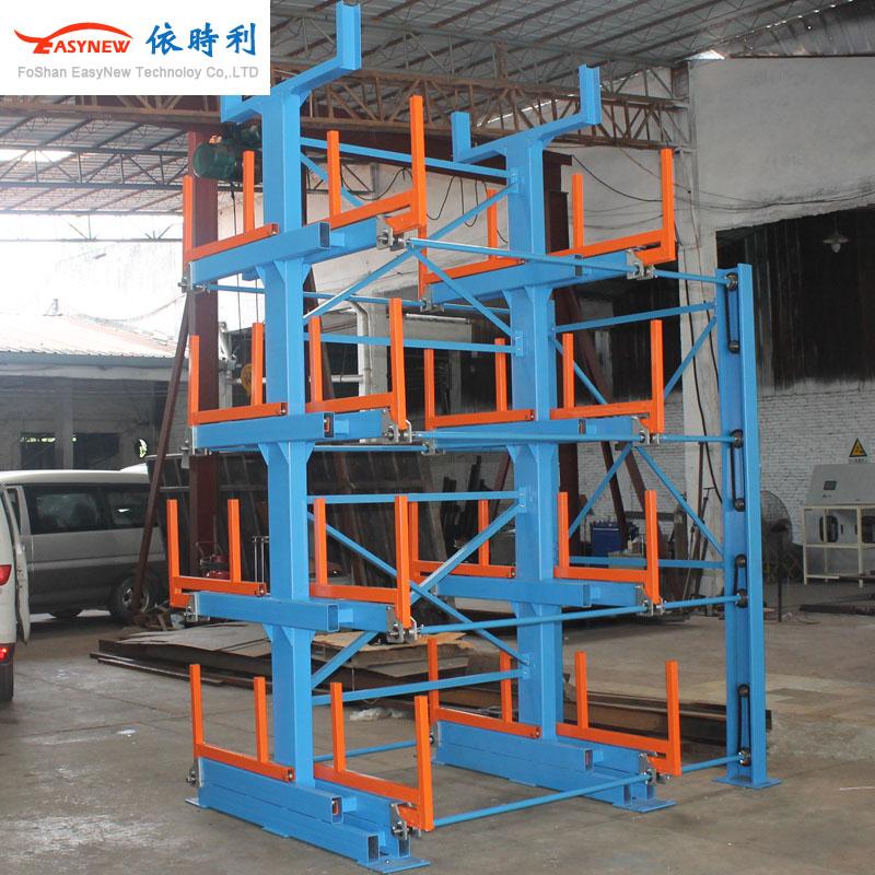 伸缩式悬臂货架,插入式管材,抽屉式板材,后推式存储货架