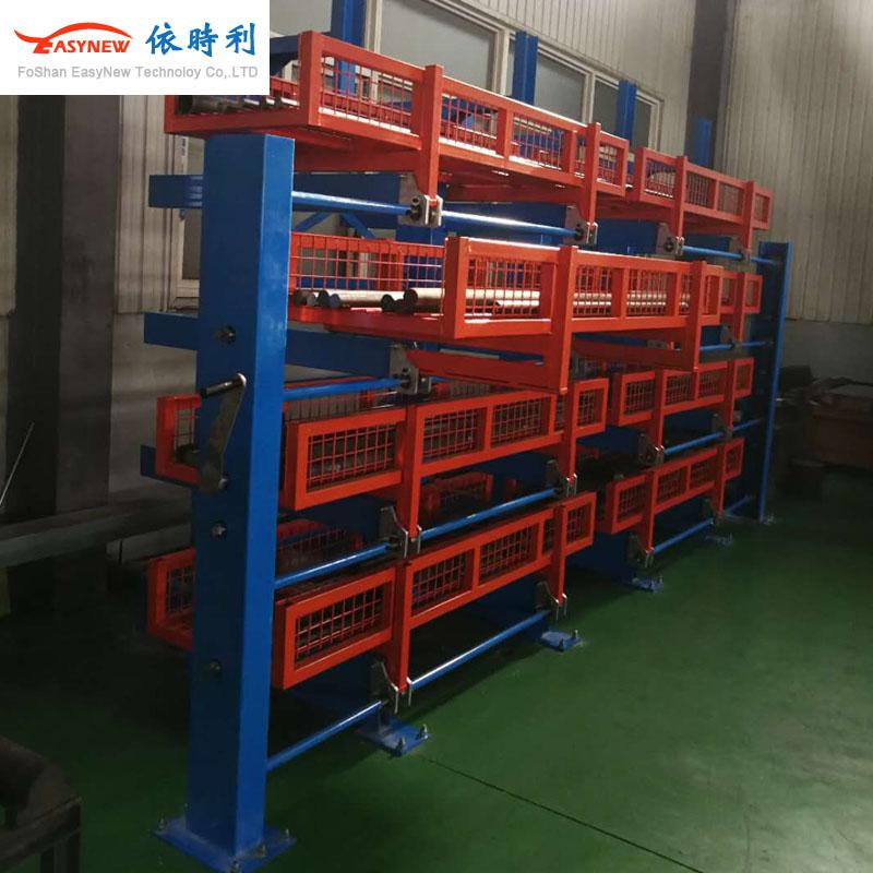 伸缩式悬臂货架生产厂家,手摇式钢材悬臂货架定做