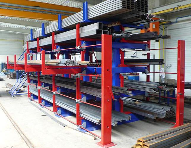 型材存放架哪家好 伸缩悬臂式管材货架多少钱
