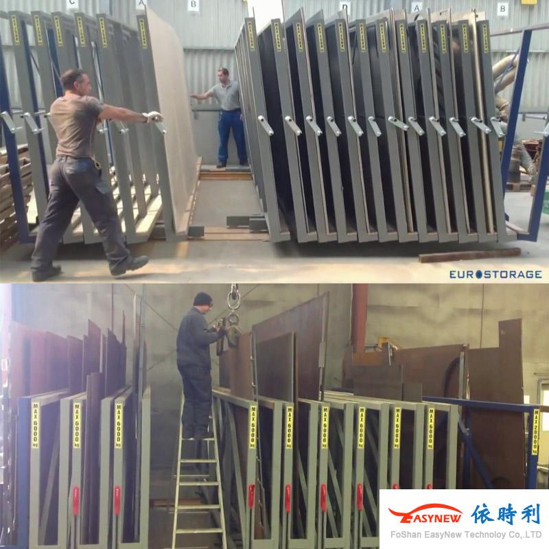 占地小,提高工作效率,4米板材货架立式存放吊车存取